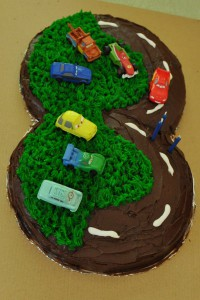 A Lightning McQueen birthday cake