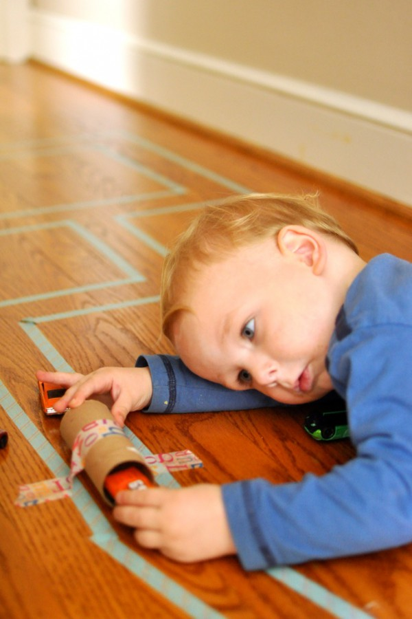 Easy fun indoor toddler activity - Washi tape road