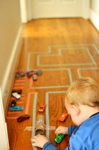 Washi tape road for toddlers