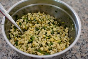 Raw corn salsa with lime, cilantro and cumin