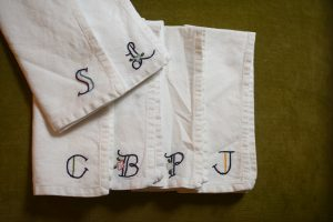 Embroidered monogram napkins