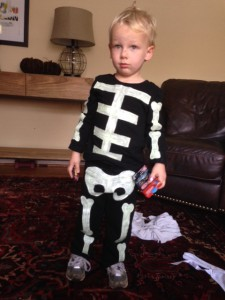 Homemade toddler skeleton costume